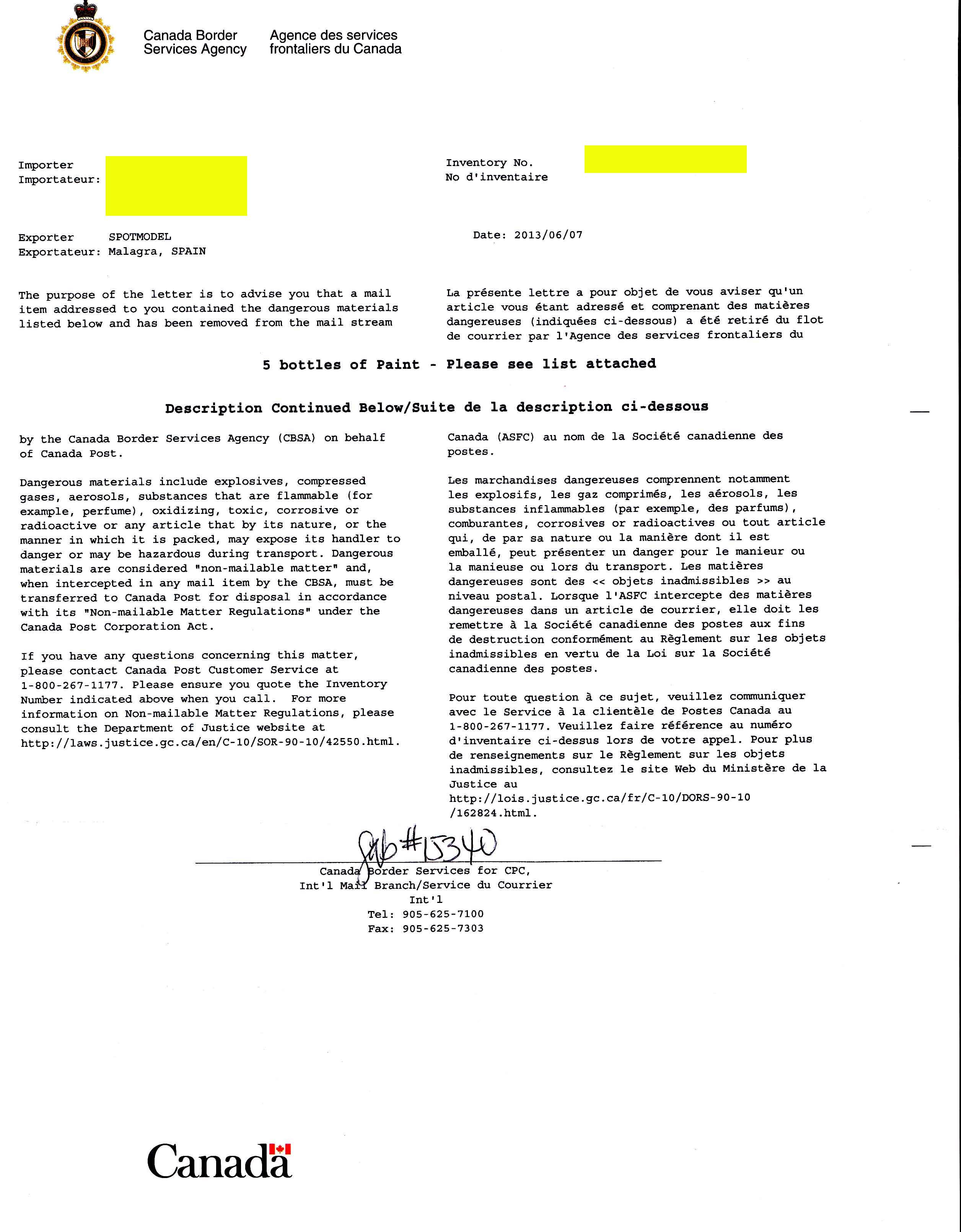 Canada Border Service letter