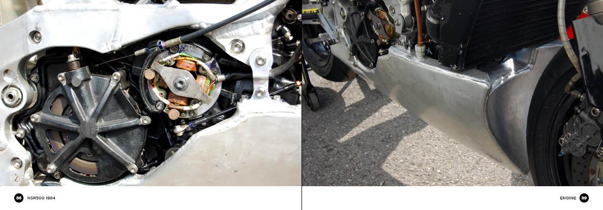Honda NSR500 - engine detail (clutch and alternator)